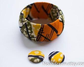 Bangle and earring set:  Ankara African wax print, gift set navy ,orange, olive green ,white and yellow