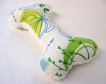 Squeaky Plush Dog Bone Toy, Yellow, Green, & Blue Floral with Fleece Backing