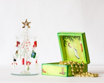 Christmas Jewelry Box , Art box Christmas Tree and gifts, Lady and shoes box, Chartreuse green