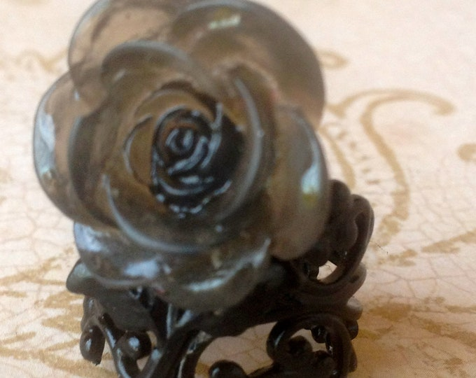Black Rose Ring Vintage Steampunk Victorian Romantic Inspired