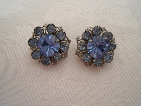 Reserved Blue Snowflake Rhinestone Earbobs