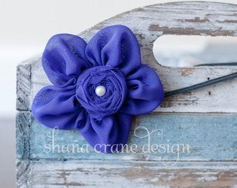 Joan . Headband . Chiffon Flower with Rosette Center . Royal Purple