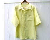 New Color Apple Green Linen Mens Short Sleeved Shirt Custom Made for You