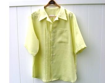 New Color Apple Green Linen Mens Short Sleeved Shirt Custom Made for You