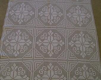 "Crochet Table Topper Dresser Scarf Table Runner Doily Hand Made Crocheted  Vintage 24"" x 30"" White Crochet Shabby Chic for your Table"