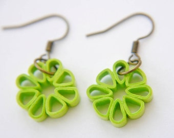 Lime Green Square Flower Paper Quilled Earrings