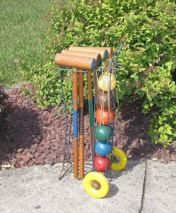 On R e s e r v e - Vintage Croquet Set with Wheeled Stand Rolling Cart Lawn Game