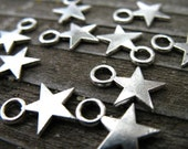25 Antiqued Silver Star Charms 11mm