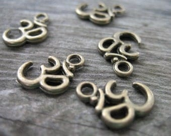 10 Bronze Om Charms 16mm Antiqued Bronze