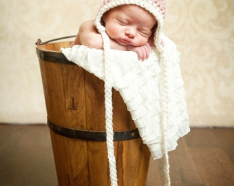 Ivory Ruffle Baby Blanket- Ready to ship