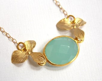Chalcedony Necklace, Aqua Necklace, Gold Filled Necklace, Teal, Aqua Blue, Mint, Gold Orchid, Vermeil, Bridesmaid Necklace, Bridesmaid Gift