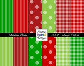 Christmas Digital Paper Pack -  LARGE Pattern - Christmas Colors Dots - Christmas Gingham - Christmas Stripes - Instant Download