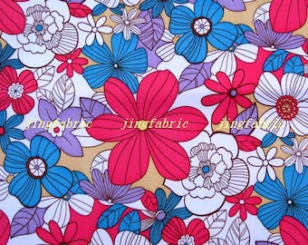 "W188A  - Vinyl Waterproof Fabric - Flowers   - Red and blue -  27""x19""(70cmX50cm)"