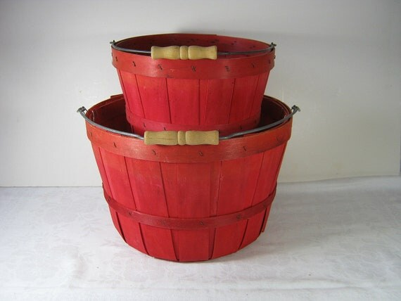 Vintage Orchard Basket RED Set/2 Farm RUSTIC Patina Apple Farmhouse