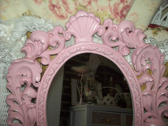 Adorable shabby chic, baby nursery resin pink mirror