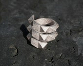 SPIN 720 - Solid sterling silver faceted modern spiral geometric 3D printed ring