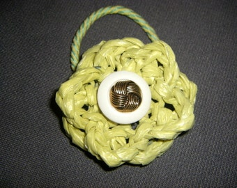 Chartreuse Plarn Flower Ponytail Holder with Vintage Button