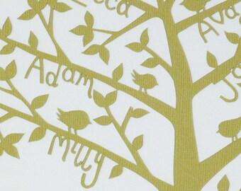 Personalized Family Tree - bespoke hand cut paper cut