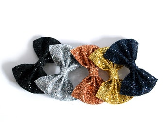 Medium Glitter Hair Bow - Metallics