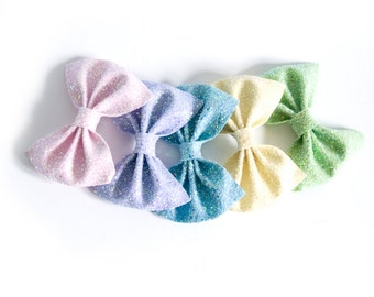 Medium Glitter Hair Bow - Pastels