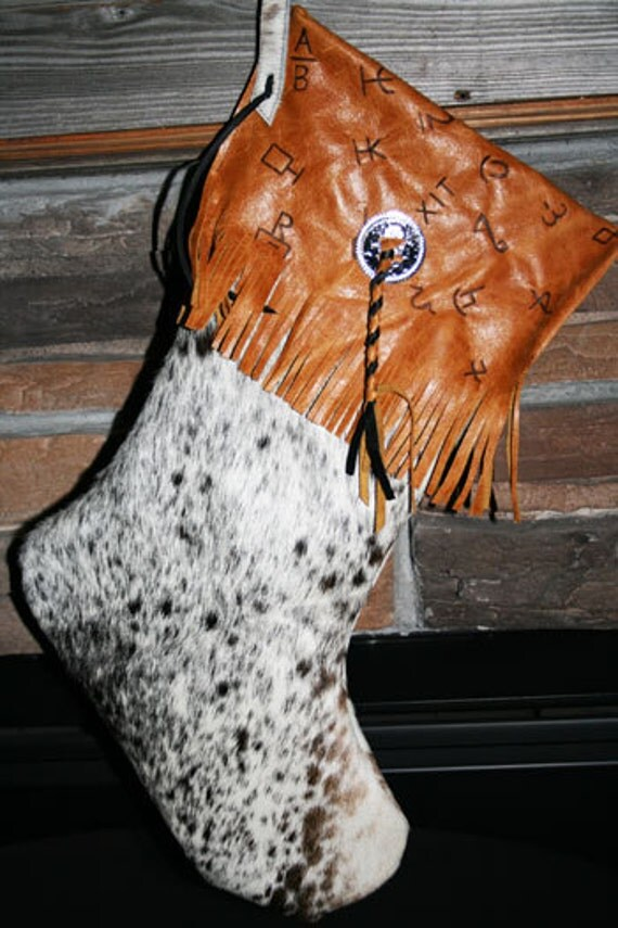 Cowhide leather Christmas Stocking with Hand by CouleeDesigns