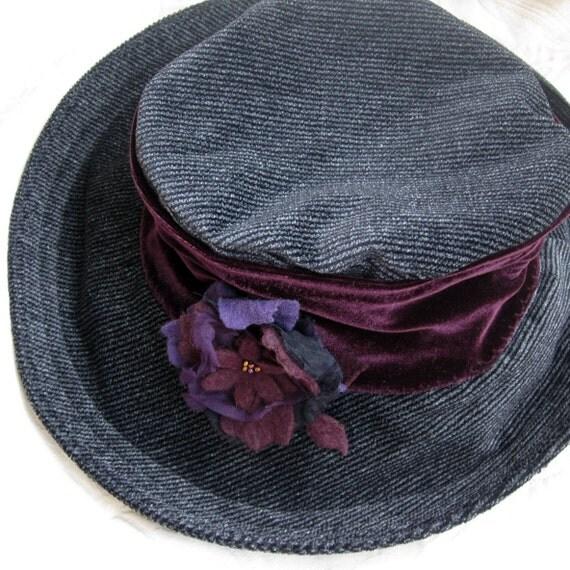 Unusual herringbone velvet brimmed hat for women with felt and silk flower