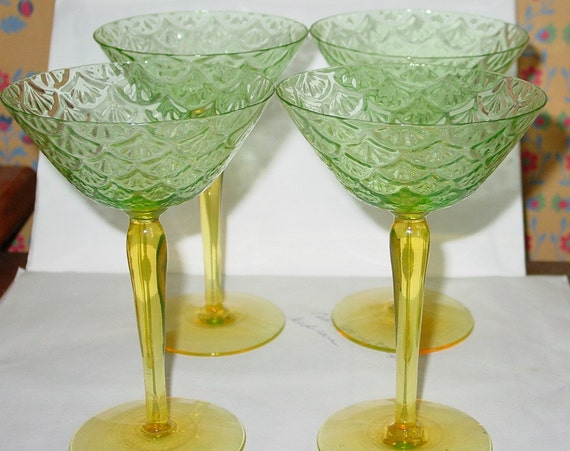 Retro Long Stem Green and Yellow Martini Glasses - Set of Four