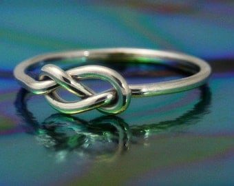 Sterling silver infinity knot ring, silver nautical knot ring, stop knot, wedding,, novelty, statement, bridesmaids