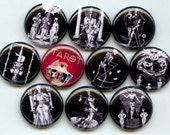"TAROT CARDS Vintage black and white 10 Hand Pressed Pinback 1"" Buttons Badges Pins"