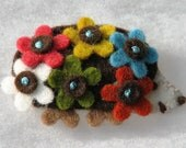 Brooch / Hairclip Brown Handmade Felt Hedgehodge Full of Flowers