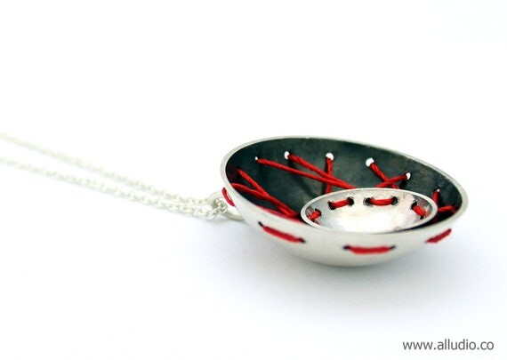 BOMBYX MORI red silk sterling silver oxidised dome necklace & pendant