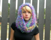 Crochet Hooded Cowl in Confetti Stripes