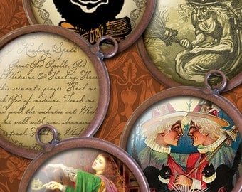 Victorian Witches, Black Cats, Owls & Spells - 30mm Circles - Digital Collage Sheet - Instant Download and Print