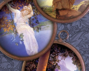Maxfield Parrish - Art Nouveau - 1.5 Inch Circles - Digital Collage Sheet - Instant Download and Print