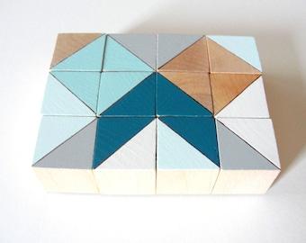 Copenhagen Color Block Magnets  | | 12 Count Set | | Wooden | | Geometric | | Office and Kitchen Decor | | Teal Aqua Natural Blue