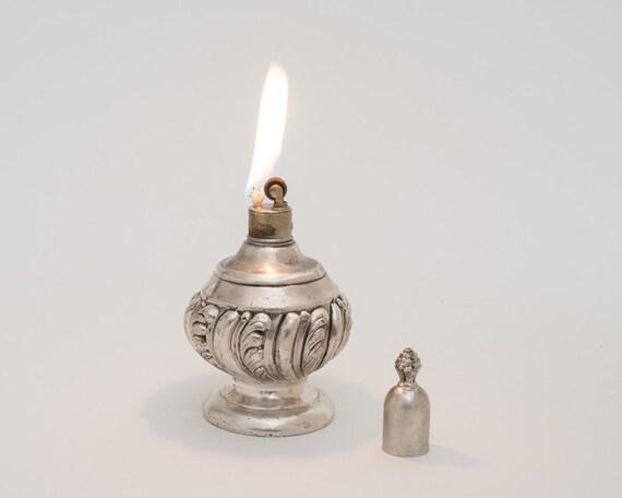 1930s Strikalite Art Nouveau Silver Plate Table Lighter