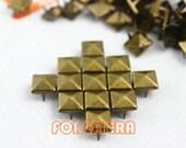 500Pcs 9mm Antique Brass PYRAMID STUDS Metal Studs (BP09)