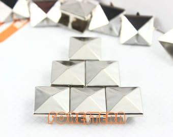 400Pcs 15mm Silver Pyramid Studs Metal Studs (SP15)