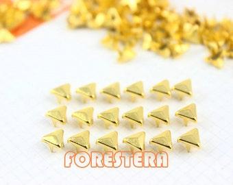 200Pcs 5mm Gold Triangle Studs Small Metal Studs (JT05)