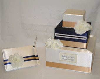 Elegant Custom Made Wedding Card Box-Guest Book/Pen set -any color combination