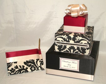 Deep Red and Black and Cream Damask Wedding Card Box-Guest Book and Pen-any color combination