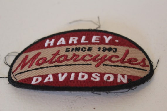 Harley Davidson Maroon and Beige Patch  3 1/2 inches wide by 2  inches tall, GREAT FIND