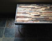 25% OFF SALE - Barnwood Coffee Table - Industrial Furniture - Modern Reclaimed Barn Wood Rustic Wood and Vintage Steel Legs