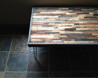 25% OFF SALE - Barnwood Coffee Table - Industrial Furniture - Modern Reclaimed Barn Wood Rustic Wood and Vintage Steel Legs
