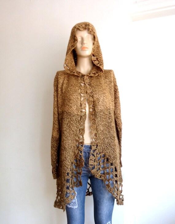 Variegated brown hood  sleeve cardigan,long bolero hooded coat  crochet  skirt the edges of acrylic cellular