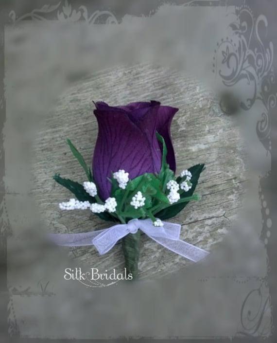 Purple Plum Boutonniere Rose Groom Groomsman Bridal Silk