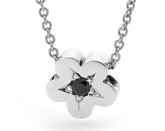 Sterling Silver and Black Sapphire small BLOSSOM Necklace, small silver flower pendant, small daisy pendant