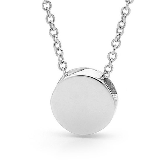 Silver disc necklace small sterling silver disc pendant or like this item mozeypictures Choice Image