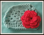 Crochet Red and Baby Blue Hat MadeTo Order