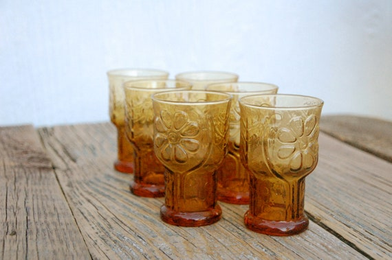 Vintage Juice or Water Glasses in Amber Gold Libby's Embossed Glass, set of 6